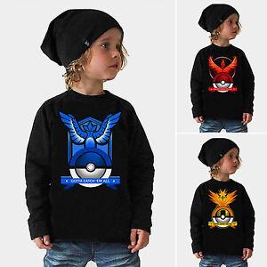 Boys Girls Kids Pokemon Go Casual Hoodies Sweatshirt Long Sleeve Sweater Tops