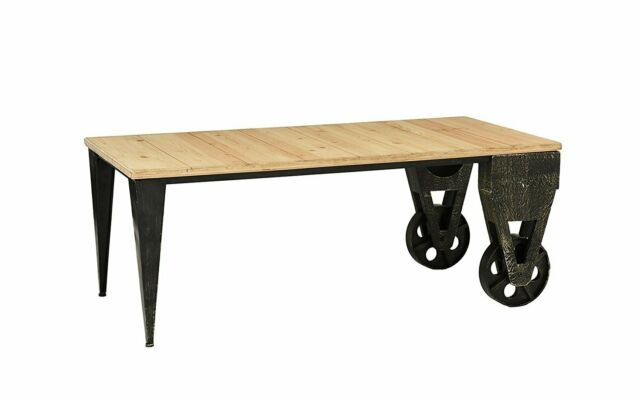 Stupendous Rustic Wood Plank Metal Cart Coffee Table Accent Table With Casters Light Brown Machost Co Dining Chair Design Ideas Machostcouk