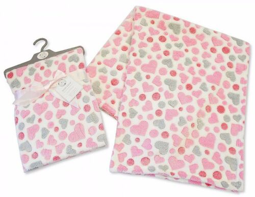 Bebé chicos chicas Envoltura de manta suave diseño de corazón en color azul y rosa