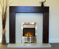 Electric Walnut Brown Mango Surround Cream Silver Fire Fireplace Suite Large 54