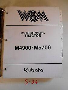 kubota m4900 m5700 tractor workshop repair service manual flat rh ebay com kubota m4900 service manual pdf kubota m4900 service manual free