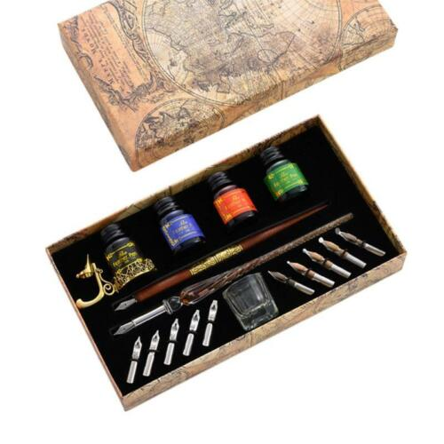Details about  /Vintage Dip Pens Fountain Writing Ink 10 Nibs Pen Holder Gift Box Calligraphy