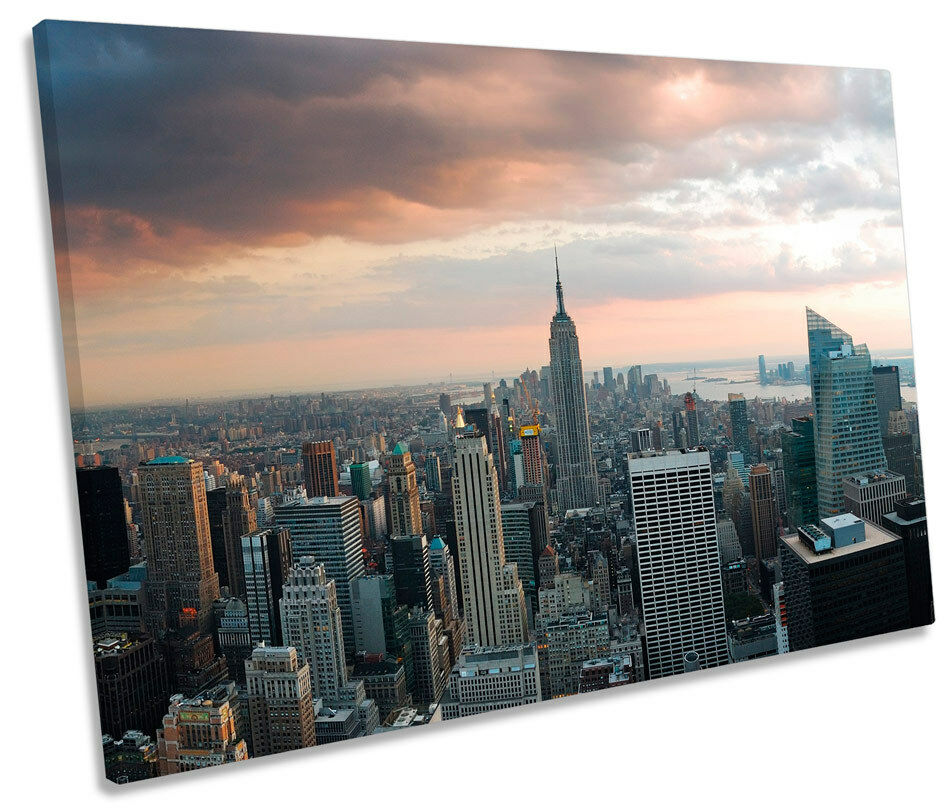 NEW York City SUNRISE skyline tela tela tela singola WALL ART PICTURE PRINT 1cf295