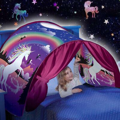buy online 3c038 682b4 UK Kids Girls Dream Tents Unicorn Princess Foldable Bed Pop up Tent Outdoor  Camp | eBay