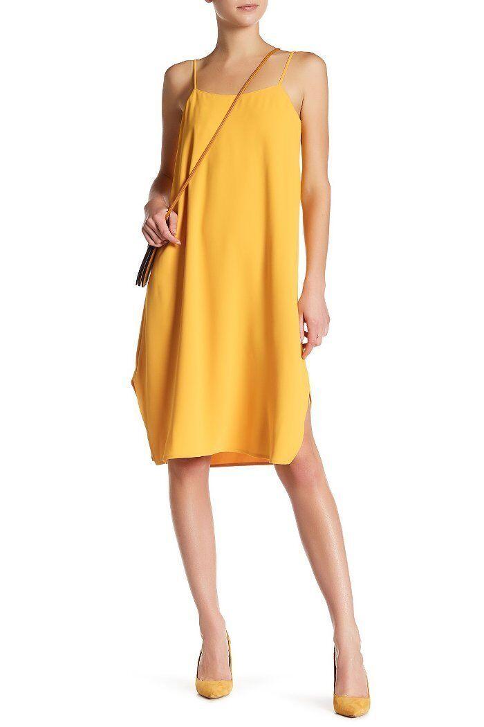 Trina Turk Toucan Gold Rounded Hem Nara Crepe Shift Dress XS NWT T487