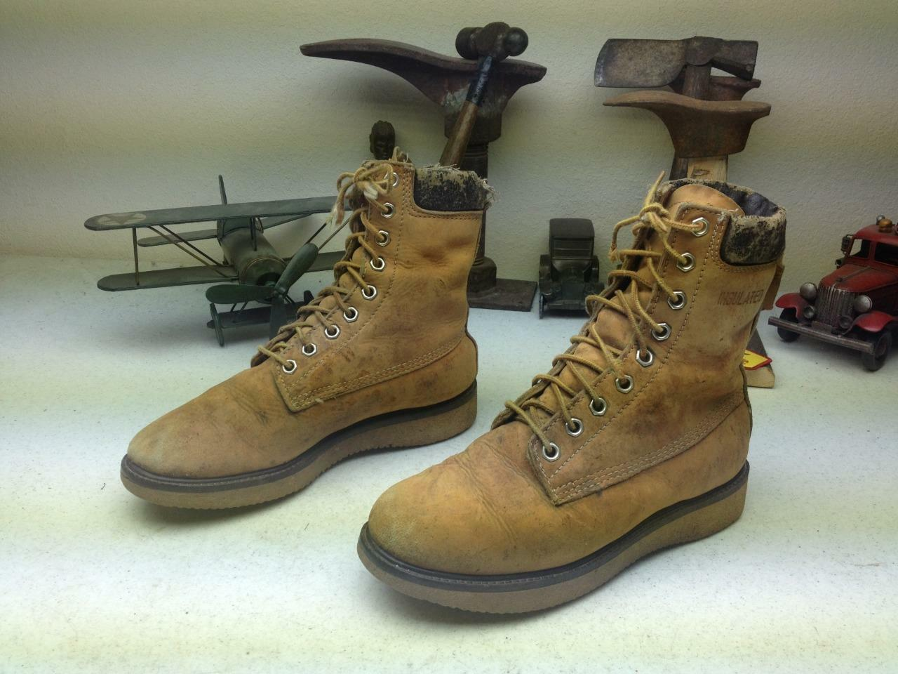 VINTAGE USA DISTRESSED AMBER LEATHER LACE LACE LACE UP TRAIL HIKE PACKER CHORE BOOTS 8 D becf24