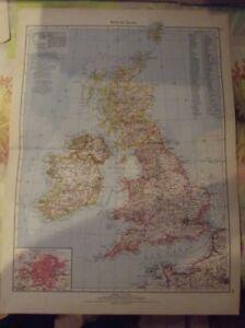 Antique-1957-German-Atlas-Scotland-Vintage-School-Map-Great-Britain