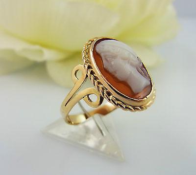 Cameo Gold Ring 333 Muschel Gemme Gr. 51 Gemmenring (A1920)