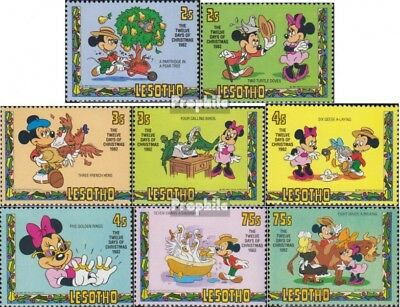 Never Hinged 1982 Walt Disney And To Have A Long Life. Industrious Lesotho 402-409 complete Issue Unmounted Mint