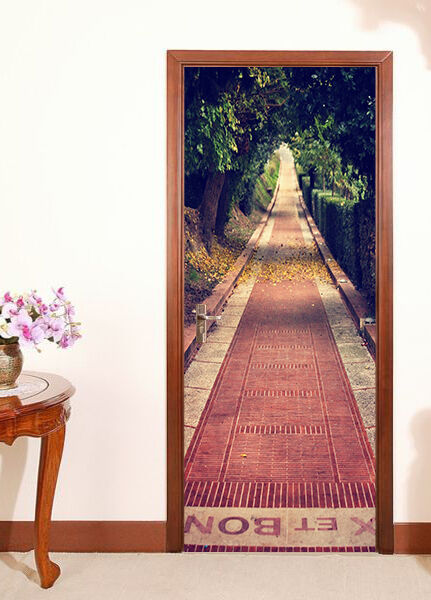 3D Steinstraße Tür Wandmalerei Wandaufkleber Aufkleber AJ WALLPAPER DE Kyra | Klein und fein  | Produktqualität  | Schön und charmant