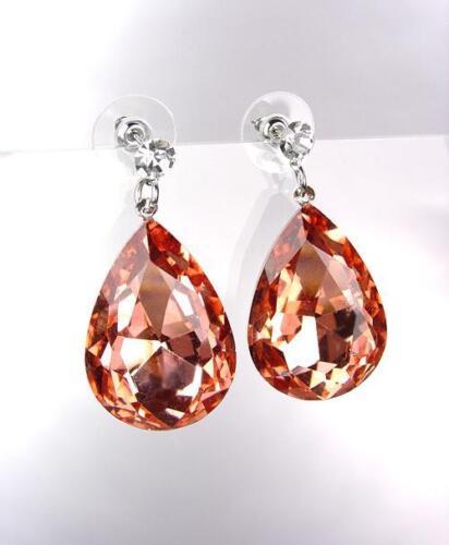 GLITZY SPARKLE Peach Citrine Czech Crystal Bridal Queen Pageant Earrings