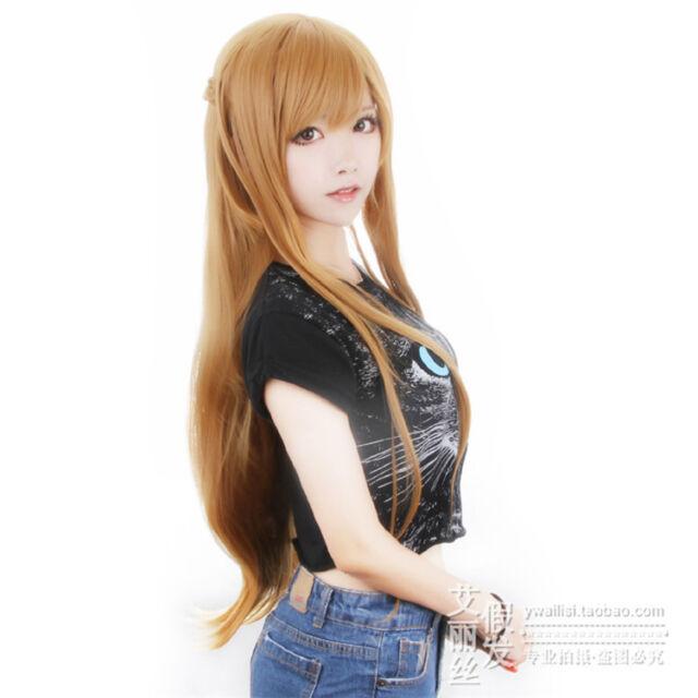 Sword Art Online Asuna Yuuki Braided Brown /Blue Anime Cosplay Costume Wig +CAP