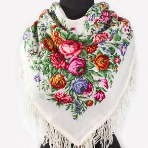 35x35-034-Russe-Pavlovo-Posad-Chale-Laine-Blanche-Pashmina-Wrap-motif-floral