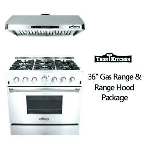 Details about High end New S/S 36\'\' gas stove 6 burners Kitchen Gas Range  CSA +Free Range Hood