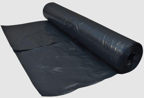 4 METRE WIDE BLACK POLYTHENE PLASTIC SHEETING 125 MICRON 500 GAUGE