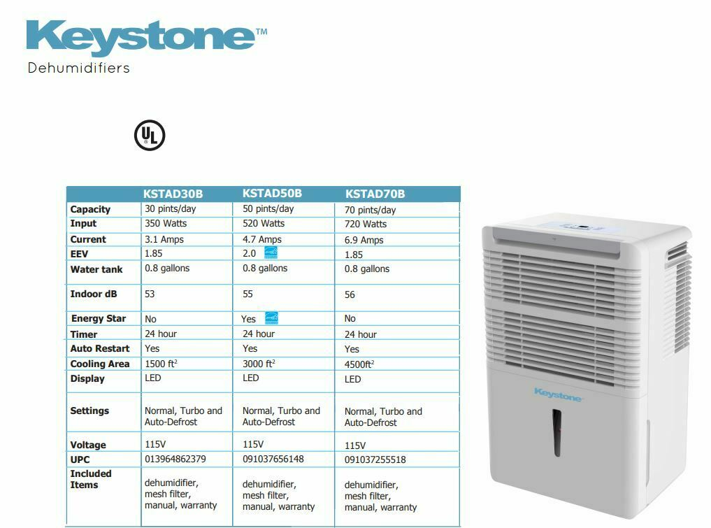 Keystone KSTAD70C High Efficiency 70 Pint Dehumidifier with Electronic Controls