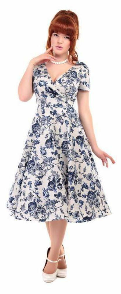 Collectif Maria Toile Floral Print White bluee Summer Dress