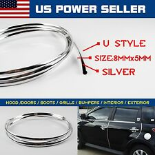 40ft Silver U Style Moulding Trim Car Door Air Vent Grille Rims Edge Guard Strip