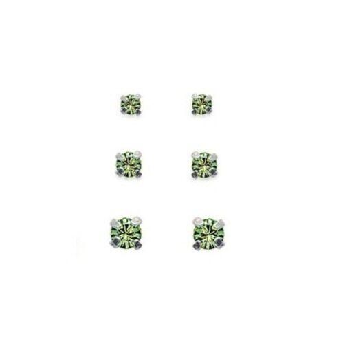 LOT de 3 paires de Boucles D/' Oreilles  Ronde CRISTAL VERT Clair ARGENT Neuf