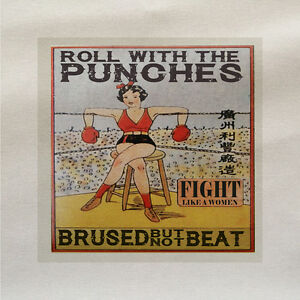 Roll-With-Punches-boxing-women-Fabric-Panel-Make-Cushion-Upholstery-Craft-Cotton