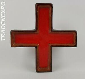 60-70-039-s-Vintage-West-German-Pottery-Red-Crucifix-Religious-Hanging-Wall-Cross