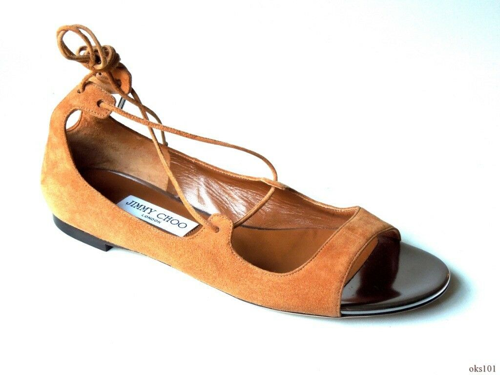 New  650 JIMMY CHOO 'Vernie' Canyon Steel brown suede strappy shoes flats 40 10