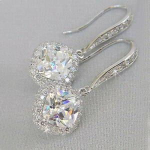 Elegant-925-Silver-Drop-Earrings-for-Women-White-Sapphire-Jewelry-A-Pair-set