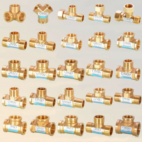 """Brass G1//2/"""" 3//4/"""" Male//Female Thread Tee Connector Water Gas Pipe Fitting Adapter"""