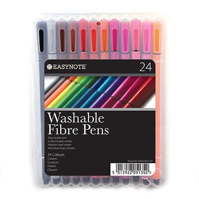 Easynote Washable Ink Fibre Felt Tip Pens Colouring Art Craft Pack of 12 18 24