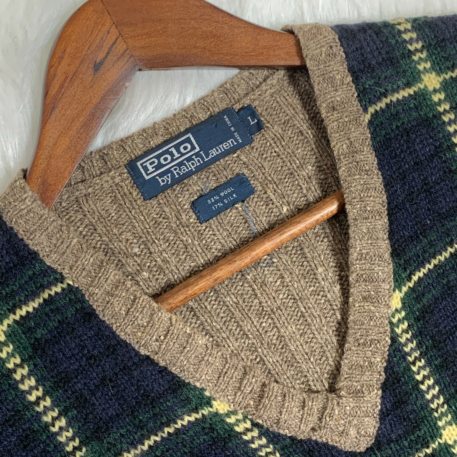 Polo by Ralph Lauren Green Plaid Sweater Vest Woo… - image 5