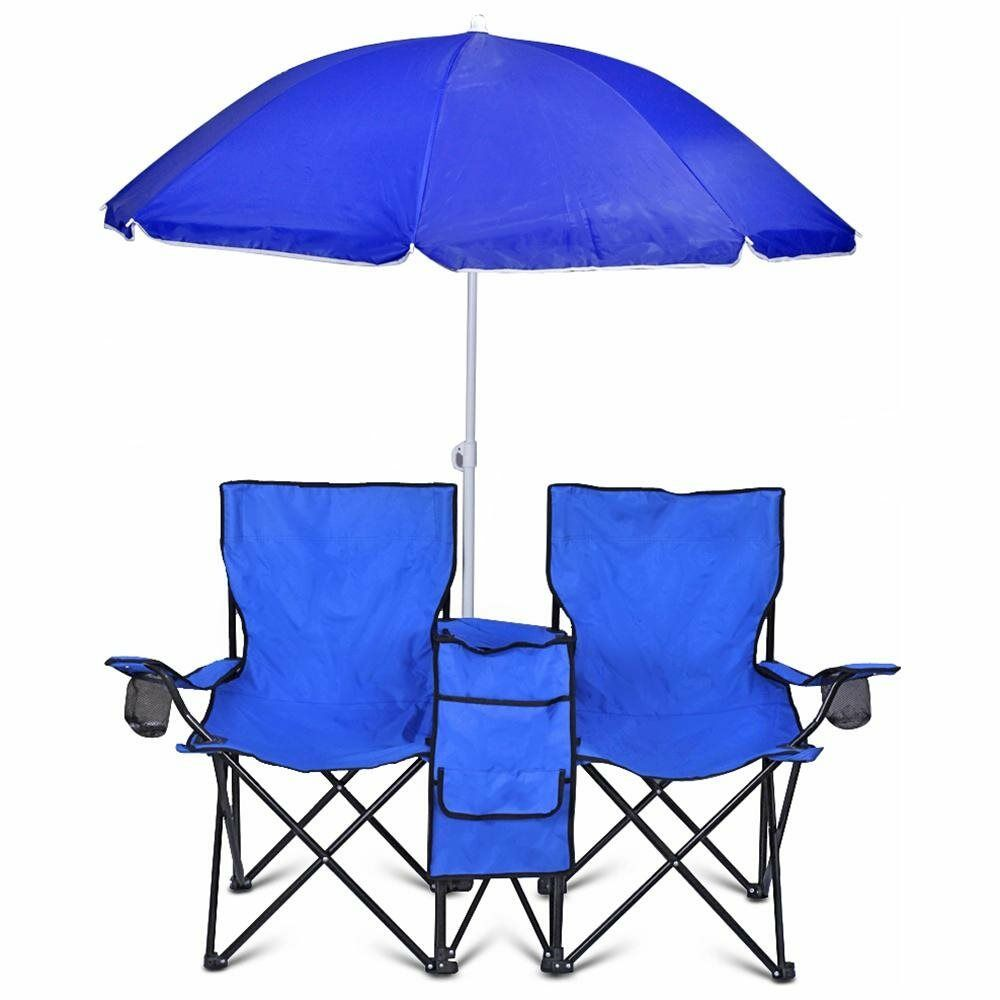 GoTEAM  PORTABLE STEEL DOUBLE FOLDING CHAIR W REMOVABLE UMBRELLA PLUS COOLER BAG