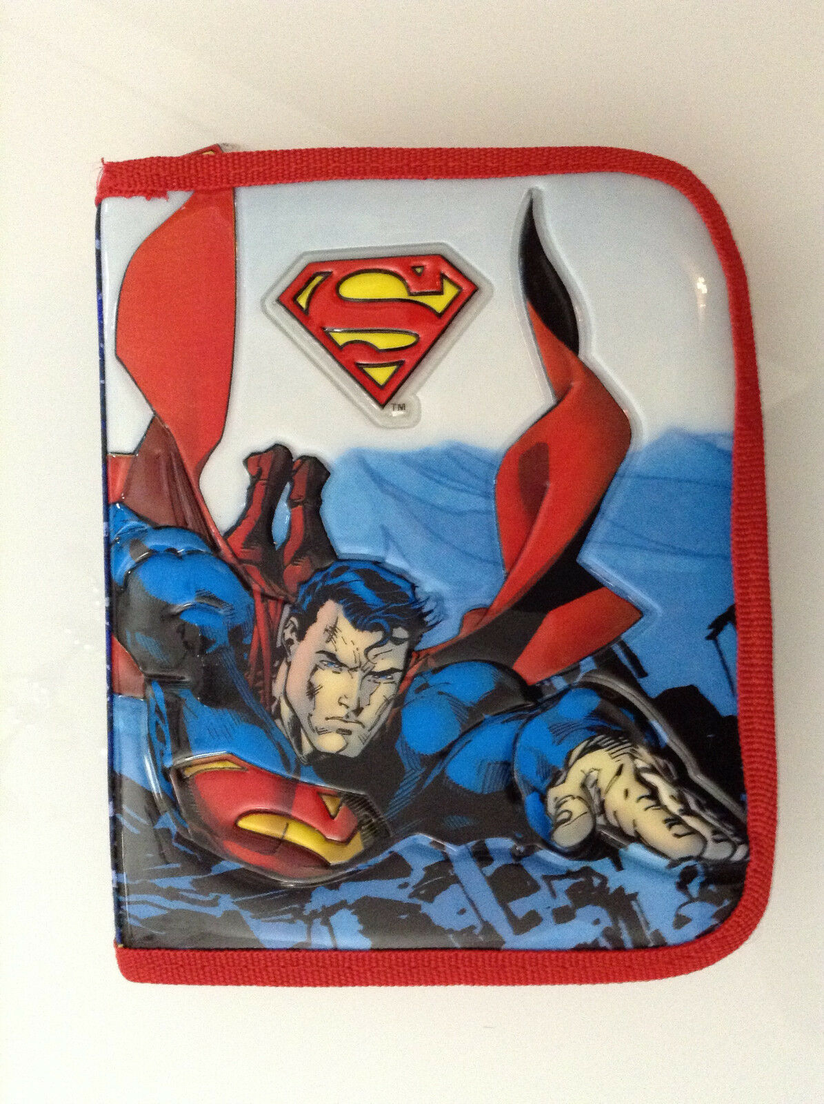 SUPERMAN JIM LEE LEE LEE EMBOSSED FIGURE DOUBLE PENCIL BOX CASE FULL OF PENS,PENCILS DC 2b2c9b