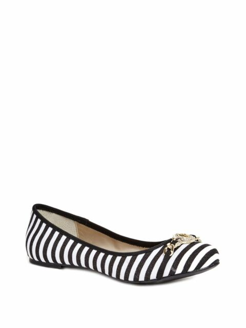 GUESS KARLYN BLACK+WHITE CANVAS STRIPES,G GOLD CRYSTAL LOGO BALLET FLATS,SHOES