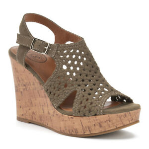 SO Women's Olive- Beige Woven Wedge Sandals Size 8,9,10 MSRP $49
