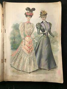 THE DELINEATOR Magazine - June 1897 - Multiple COLOR FASHION Plates