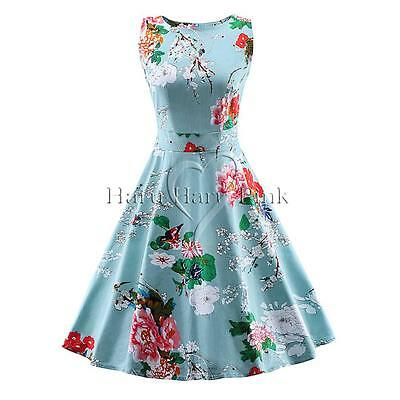 UK Women 1950s 60s Vintage Floral Style Rockabilly Cocktail Party Swing Dresses