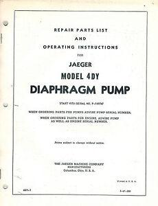 Jaeger 4dy diaphragm pump operators parts manual ebay image is loading jaeger 4dy diaphragm pump operator 039 s parts ccuart Images