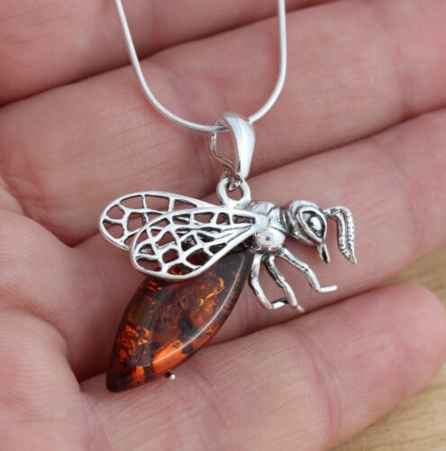Cognac Baltic Amber 925 Sterling Silver Bee Animal Pendant  Jewellery