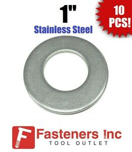""".105 Thick 7//8/"""" Stainless Steel Flat Washers 18-8 Stainless 2/"""" OD Qty 100"""