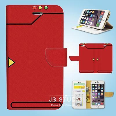 iPhone 6 6S Plus 5 5S 5C 4 4S Flip Wallet Case Cover Pokemon Red Pokedex W083
