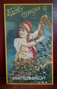 ESTEY-ORGAN-Harp-Girl-trade-card-Advertising-printed-on-Vintage-Metal-Sign