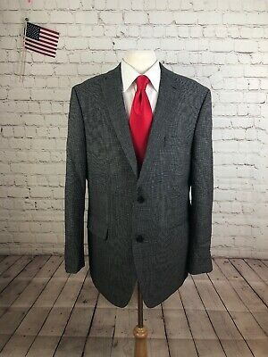 Men's Clothing Suits & Suit Separates Marc Anthony Men's Gray Houndstooth Wool Blazer Sport Coat Suit Jacket 46r $295 Up-To-Date Styling