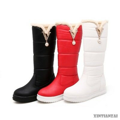 womens stylish bead round toe flat heel platform thigh high snow boots shoes SY