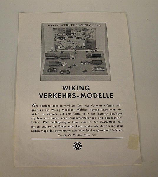 Wiking Prospektblatt Preisliste Herbst 1953 Original mit Händlerstempel