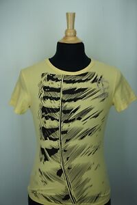 Just-Cavalli-Yellow-Black-Shredded-Animal-Print-Short-Sleeve-t-shirt-Sz-M