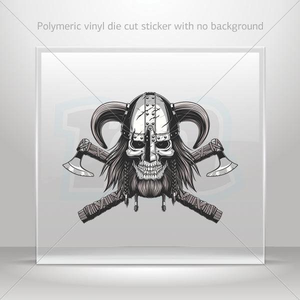 Buy Sticker Decal Skull Viking Cross Bladed Axe Helmet ATV Bike Garage St7  2242w 4 Inches online  af8d8583c15