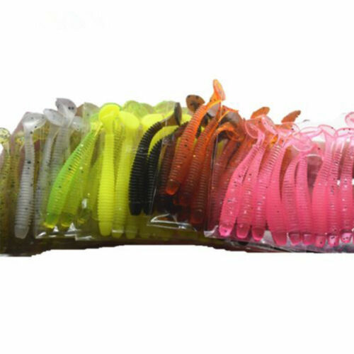 10pcs Fishing Worm Swim bait Jig Soft Curly Tail Lure Fly Fish Bait Chic~