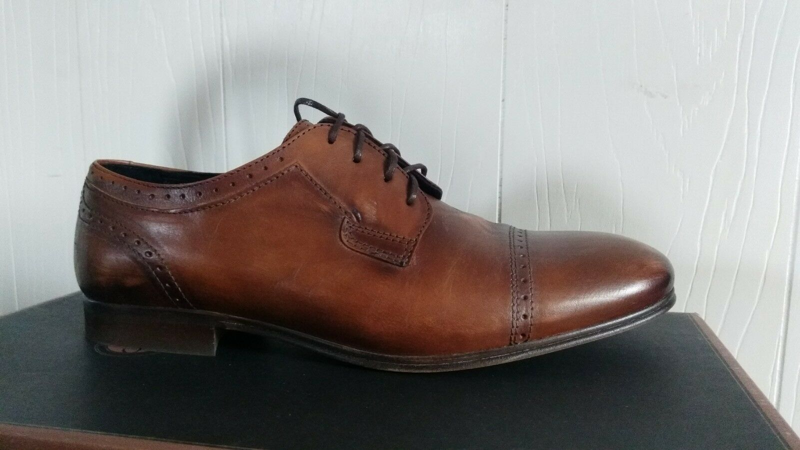 H BY HUDSON NEW Uomo Sheldon Tan Brown Pelle Front Lace Oxfords Shoes 41