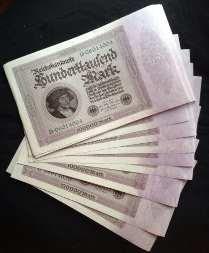 D0601 Series Paper Money 1923 German Reichsbanknote 100000 Mark y Februar