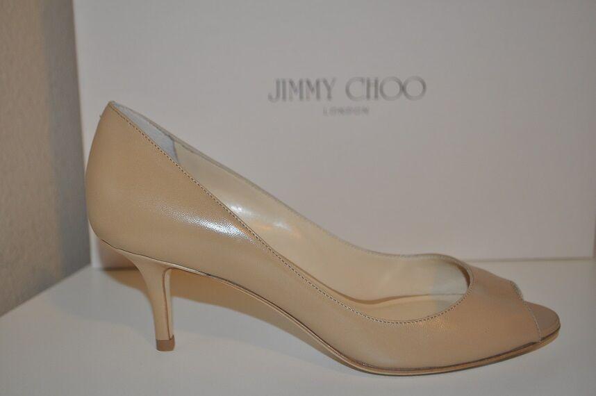 NIB Jimmy Choo Isabel Nude Beige Leather Peep Toe Low Heel Pump shoes 35 - 5
